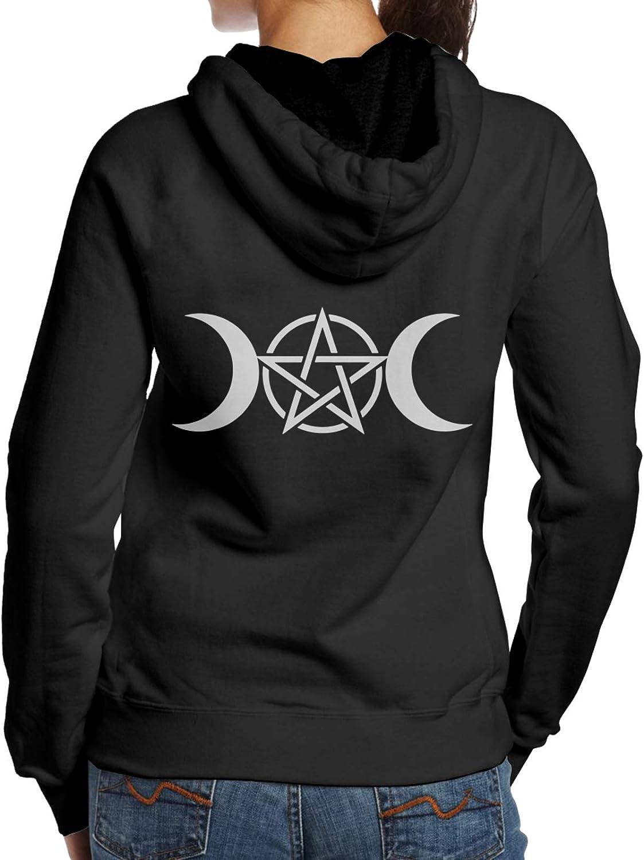 Spasm price Minneapolis Mall Triple Moon Pentacle Pagan Womens Casual Lon Fashion Soft Hoodie
