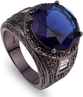 خاتم رجالي أسود بحجر ياقوت ازرق مقاس أمريكي 7