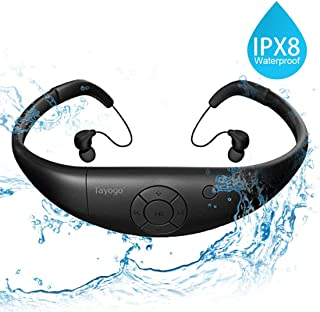 Tayogo Waterproof MP3 Player, IPX8 Swimming Headphones with Shuffle Feature - Black