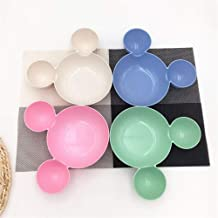 4 Packs Mickey Mouse Head Shape Plastic Bowl Children's Tray Wheat Straw Cute Tableware 4 Colors Baby Dishes Food Feeding Cutlery Set Without BPA Food Grade Plastic