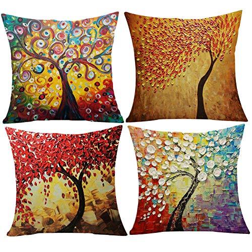 JOTOM Kissenbezug Kissenbezüge Dekokissen Fall Sofa Auto Platz Kissenhülle Home Bed Decor 45x45cm, 4er Set (Ölgemälde-Baum)