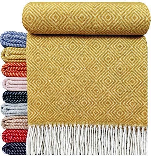 STTS International Wolldecke Plaid Wohndecke Kuscheldecke sehr weiches Plaid Decke Wolle 140 x 200 cm Verona (Senf)