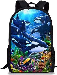 Geometric Animal Killer Whale Orca Backpack Daypack Rucksack Laptop Shoulder Bag with USB Charging Port