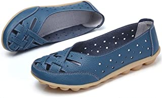 Comfy Slipony Women's Moccasins Womens Ladies Girls Boat Shoes,Hollow Wide Width Slip On Casual Leather Flat Loafers Ballet Shoes (10, Blue)