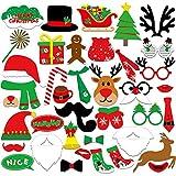 KUUQA 39 Stücke Weihnachten Foto Booth Props Kit Frohe Weihnachten Party Dekoration -