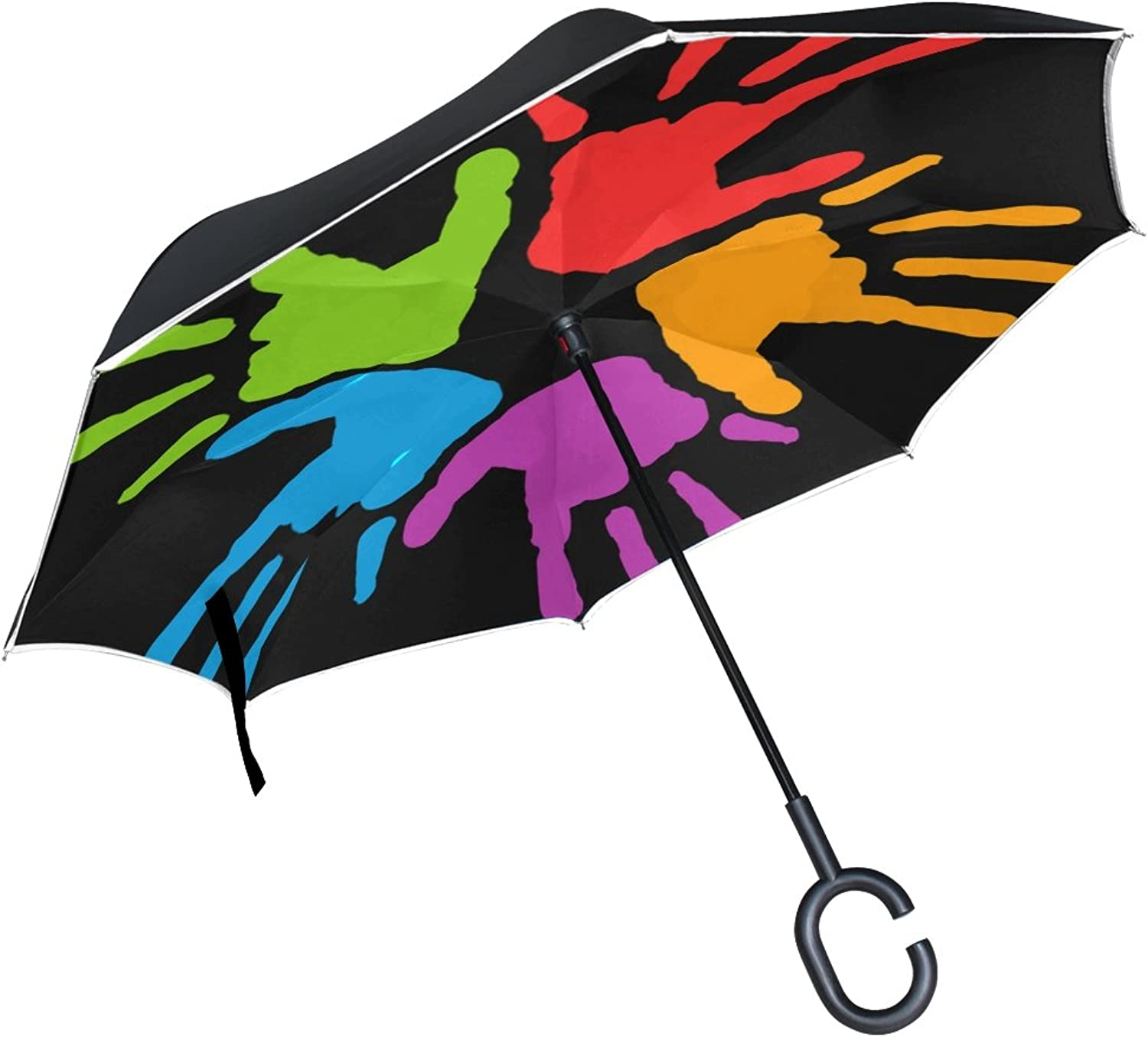 Double Layer Ingreened Common Commune Diversity Hand Hands K Mains Mani Umbrellas Reverse Folding Umbrella Windproof Uv Predection Big Straight Umbrella for Car Rain Outdoor with CShaped Handle