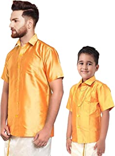 Matching Shirts for Dad and Son (44M x 13-14 Years, Gold)