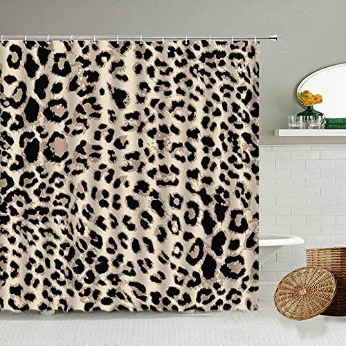 Afrikanischer Stil Leopard Muster Duschvorhang Wild Animal Print Badezimmer Badewanne Dekoration Geschenk wasserdichte Vorhänge Bildschirm-5_90x180cm