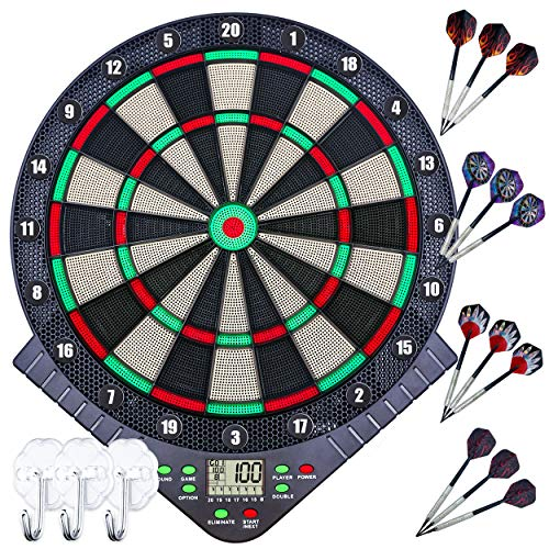 Dart Board, Electronic Dart Board, For Beginners and Intermediate Use, Automatic Scoring and Voice Function, For Games, Competitions, Practices, Quiet Modes, Multi-Person Games, Interior