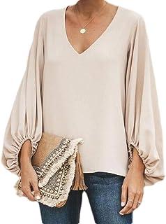 MK988 Women Plus Size Long Sleeve Solid Color V-Neck T-Shirt Tank Tops Blouse