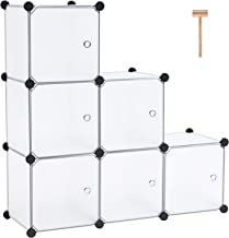 """C&AHOME Cube Storage Organizer, 6-Cube Plastic Closet Cabinet, Modular Book Shelf Organizer Units, Storage Shelving with Doors Ideal for Bedroom Living Room Office 36.6""""L x 12.4""""W x 36.6""""H White"""