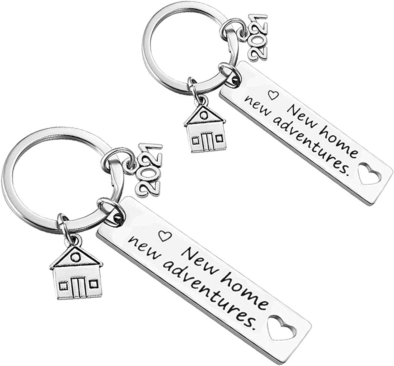 New Home Keychain 2021 Housewarming Gift for New Homeowner House Keyring Moving in Key Chain New Home Owners Jewelry from Real Estate Agent (2 Pack)