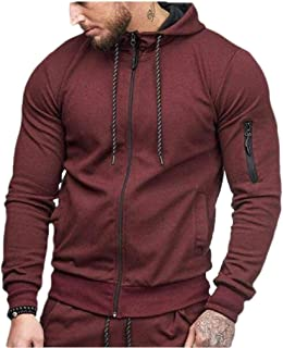 Howely Men Trim-Fit with Pockets Skinny Jacket Hooded Sports Overcoat