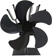 jinclonder Kachelventilator met 5 vleugels, stille kachelventilator voor groot luchtvolume, warmte-aangedreven kachelventi...