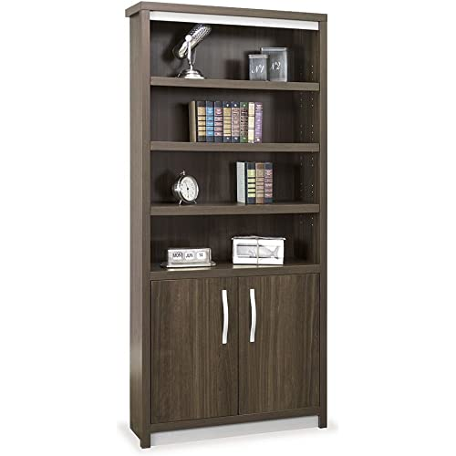 Amazon Com Nbf Signature Series Six Shelf Bookcase With Doors 78 H Boardwalk Walnut Laminate Silver Laminate Base Silver Hardware Dimensions 36 W X 11 75 D X 78 H Weight 178 Lbs Dimensions And Parts