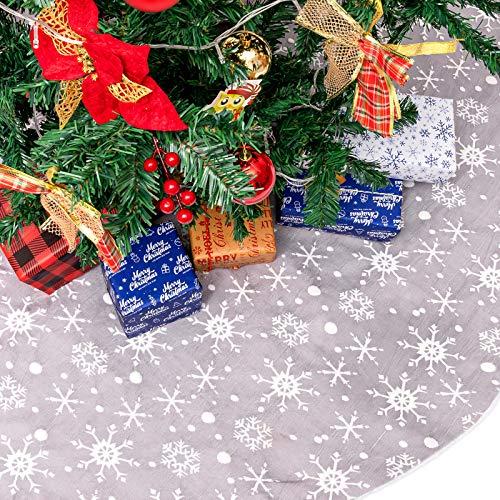 Whaline Weihnachtsbaum-Rock, doppellagiges Design, grauer und weißer Schneeflocken-Teppich, 129 cm, Bauernhaus-Baummatte für Weihnachten, Party, Urlaub, Zuhause, Bauernhaus, Baumschmuck, Dekoration