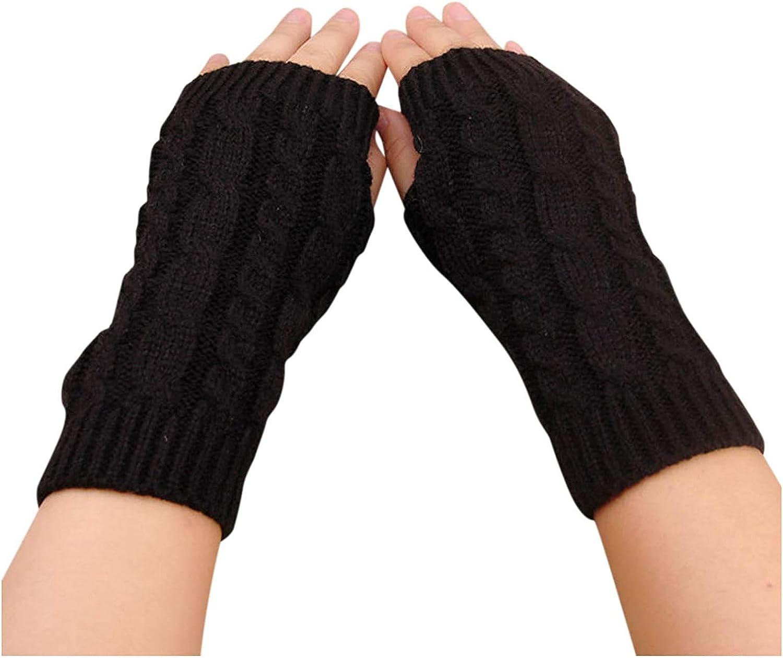 Women Arm Gloves, Winter Warm Fingerless Gloves Wrist Arm Warmers Knit Mittens