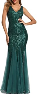 Womens Party Dress Sequins Tulle Sexy V-Neck Long Dress Sleeveless Formal Evening Prom Gowns