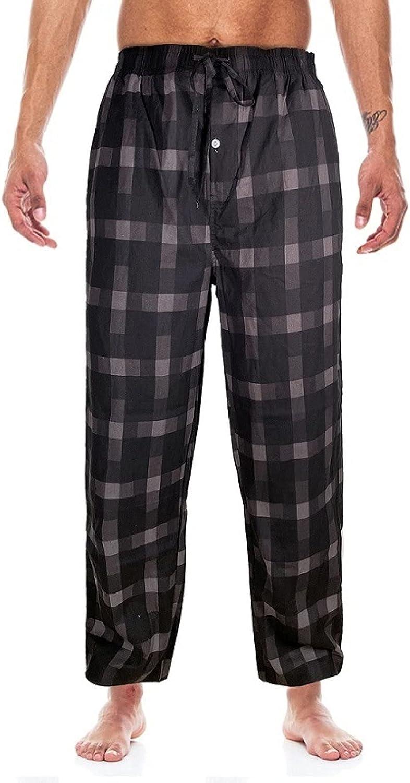 Men's Plaid Thin Loose Plus Size Elastic Waistband Sleep Bottoms Pajama Pants,XL White
