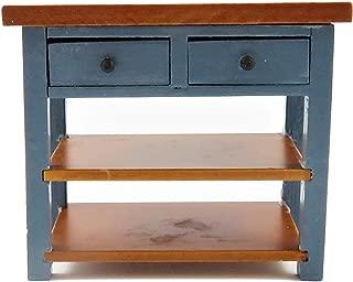 Melody Jane Dollhouse Blue & Walnut Island Work Table Modern Miniature Kitchen Furniture