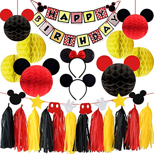 LUCK COLLECTION Mickey Mouse Party Supplies Mickey Mouse Ears Garland Birthday Banner Mickey Mouse Party Decorations