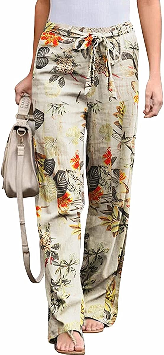 Hongqizo Women's Floral Printed Drawstring Elastic Waist Straight-Legged Pants Casual Baggy Trousers with Pockets