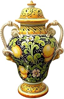 CERAMICHE D'ARTE PARRINI - Italian Ceramic Amphora Vase Jar Art Pottery Hand Painted Decorated Lemons Made in ITALY Tuscan