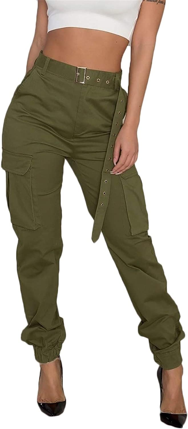 Andongnywell Women's Cargo Pants, Casual Outdoor Solid Color Elastic High Waisted Baggy Jogger Pants with Pockets