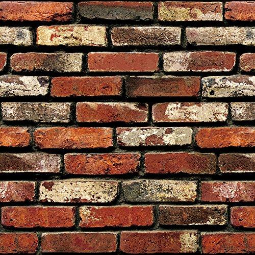 "Brick Peel and Stick Wallpaper - Brick Wallpaper - 3D Adhesive Wallpaper Faux Textured Brick Look – Removable Wall Paper or Shelf Paper - 17.71"" Wide x 197"" Long - 24.22 sq. ft. (1)"