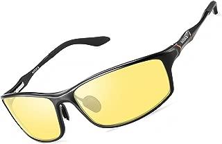 Night Vision Glasses for Men Women - SOXICK Polarized HD Driving Glasses Anti Glare UV400 Adjustable Metal Frame Yellow Lens