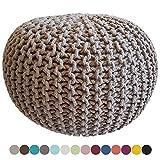 Strickhocker Pouf Sitzpouf Sitzpuff Grobstrick-Optik Ø 55 cm extrahoch Höhe 37 cm Farbe beige