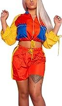 Salimdy Women's Sexy 2 Piece Color Block Outfits Long Sleeve Zip up Crop Top & Short Pants Set Sweatsuit