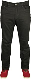 Kam Mens Stretch Chinos Jeans Straight Leg 7 Colours Black Grey White Navy Ink
