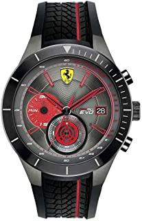 [フェラーリ]Ferrari 腕時計 46mm Black Rubber Band Steel Case Quartz Grey Dial Analog Watch 7613272214841 メンズ [並行輸入品]
