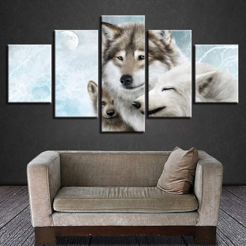 Descuento del 70% barato WZYWLH 5 Unidades Animal Wolf Family Poster Lienzo Lienzo Lienzo Pintura Salón Arte de la Parojo Modular HD Prints Cuadros Abstractos Decoración para el hogar Marco  Todo en alta calidad y bajo precio.