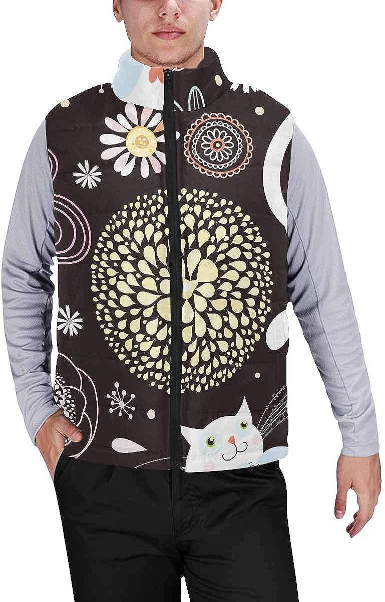 InterestPrint Men's Lightweight Keep Warm Puffer Vest for Outdoor Floral Pattern Vintage