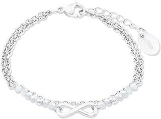 s.Oliver Armband für Damen mit Infinity Anhänger, Glas / Edelstahl
