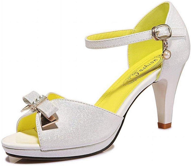 Fassen Sie mit Den Schuhen Der Hohen Absatzplattform-Frauen Der Stilettfischmundsandalenfrauen-Modesommerfrauen ab, Weiß, 38