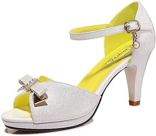 TFTORY Mot Mot Mot avec Stiletto Sandales Bouche de la Mode des Femmes été Chaussures à Talons Hauts Plateforme Femmes, blanc, 35 d95