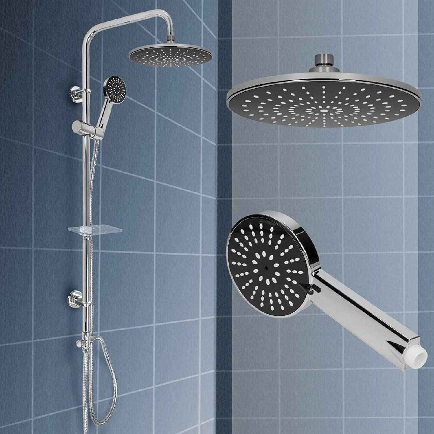 ECD Germany Stainless Steel Shower Faucet - Round - with Anti-Chalk Nozzles - ? 220 mm Rain Shower Head - Stainless Steel Hand Shower - Incl. Shower Hose and Mounting Material Rainshower Shower Set Shower System