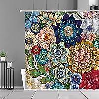 DFKJ シャワーカーテン カラフルな花の植物プリントシャワーカーテンボヘミアンスタイルアート花の防水カーテンホームバスルームの装飾シーンギフト