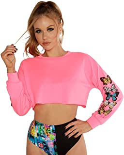 iHeartRaves Women`s Festival Ultra Cropped Long Sleeves Tops