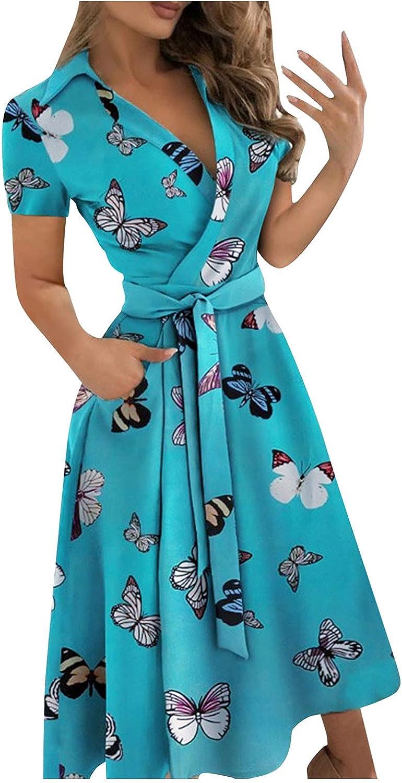 BEUU Summer Dreses for Women, Women's Deep V Neck Flared A Line Swing Mini/Midi Dress High Waist Plated Dress with Belt