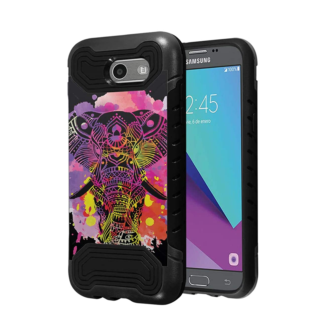 Capsule Case Compatible with Samsung Galaxy J7 Prime, J7 Perx, J7 Sky Pro, J7 V, Galaxy Halo [Quantum Dual Layer Slim Case Black] for Galaxy J7 SM-J727 Year 2017 - (Watercolor Splash Elephant)
