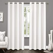 ستائر منزلية حصرية من النسيج التويد ستارة نافذة معتمة زوج مع جروميت علوية، 52x96، أبيض شتوي، قطعتين