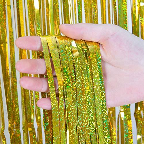 Comius Sharp 4 Stück Lametta Vorhänge Dekoration, 1 x 2.5 m Glitzervorhang Tinsel Vorhänge Folie Fringe Shimmer Vorhang für Party, Hochzeitsdeko, Geburtstags Silvester Weihnachten Deko (Gold)