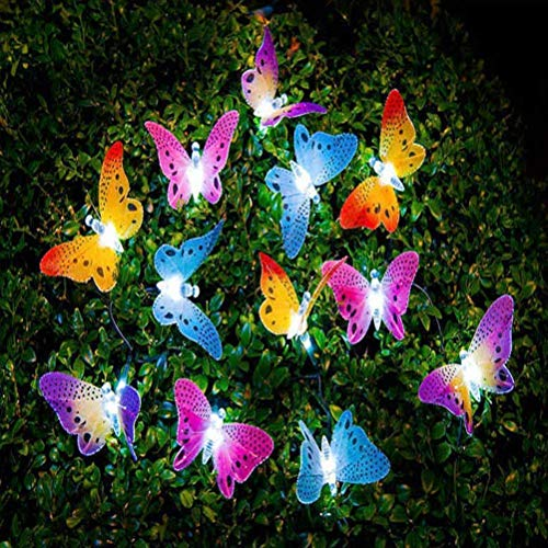 cuzile 20 LED Solar Cadena de Luz de Navidad con Diseño de Mariposa de Fibra Óptica para Exterior, Patio, Jardín, Boda, Fiesta, Terraza, Navidad, Primavera, Verano, Otoño