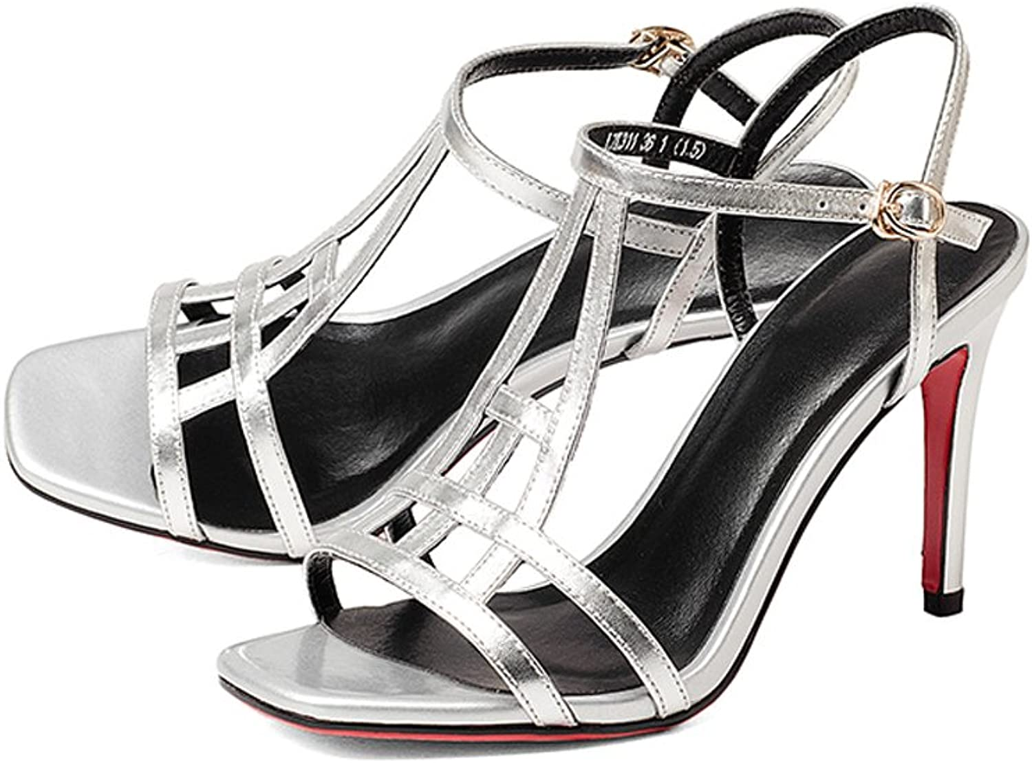 WANGXIAOLIN Open Toe Lace Up shoes Fashion Roman Heel Sexy Heels High Heel Sandals ( color   Silver , Size   35 )