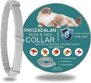 PROZADALAN Collar Antiparasitario para Gatos Impermeable, Fórmula única a Base de Plantas, Pequeña a Extra Grande, Protección de 8 Meses, Gris Universal