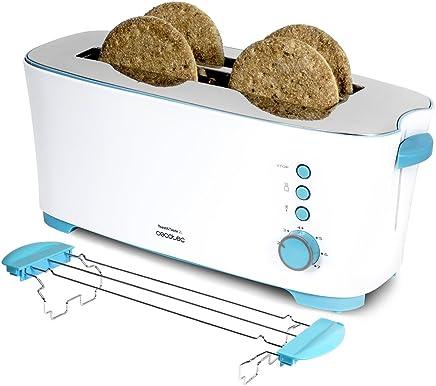 Cecotec Tostadora de Pan Toast&Taste 2L Capacidad para Cuatro, 1350 W de Potencia, 7 Posiciones de Tostado, Función recalentar y descongelar, Bandeja de recogemigas de fácil extracción, Blanco/Azul